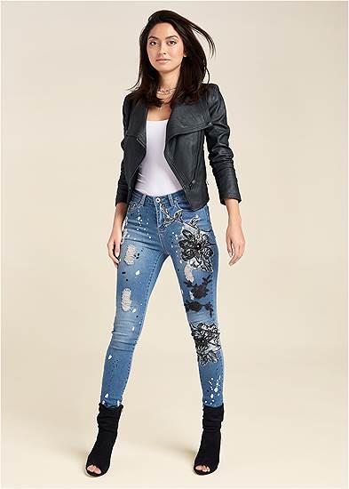 Floral Applique Skinny Jeans