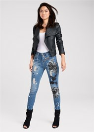 Alternate View Floral Applique Skinny Jeans