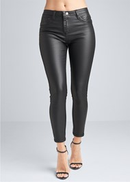 Front View Reversible Faux Leather Skinny Jeans