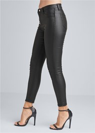 Waist down side view Reversible Faux Leather Skinny Jeans