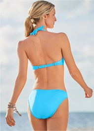 Back View Color Block Push Up Halter