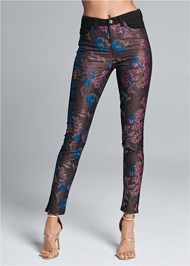Waist down front view Brocade Skinny Jeans