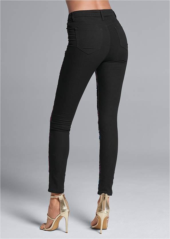 Waist down back view Brocade Skinny Jeans