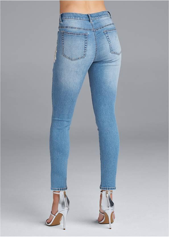 Back View Crystal Embellished Skinny Jeans