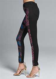Waist down side view Brocade Skinny Jeans
