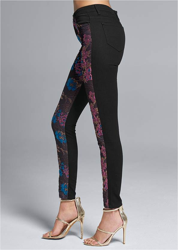 Waist down side view Brocade Skinny Jeans
