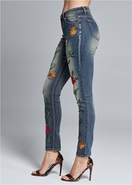 Waist down side view Floral Embroidered Skinny Jeans