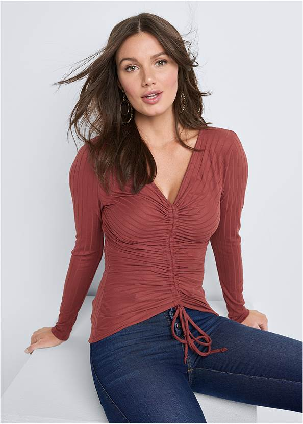 Ruched Ribbed Top,Mid Rise Color Skinny Jeans,Lace Up Tall Boots