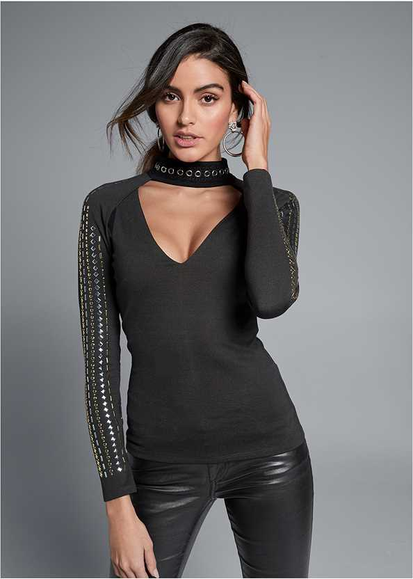 Embellished Mock Neck Top,Faux Leather Pants,Slouchy Mid-Calf Boot,Tiger Detail Earrings