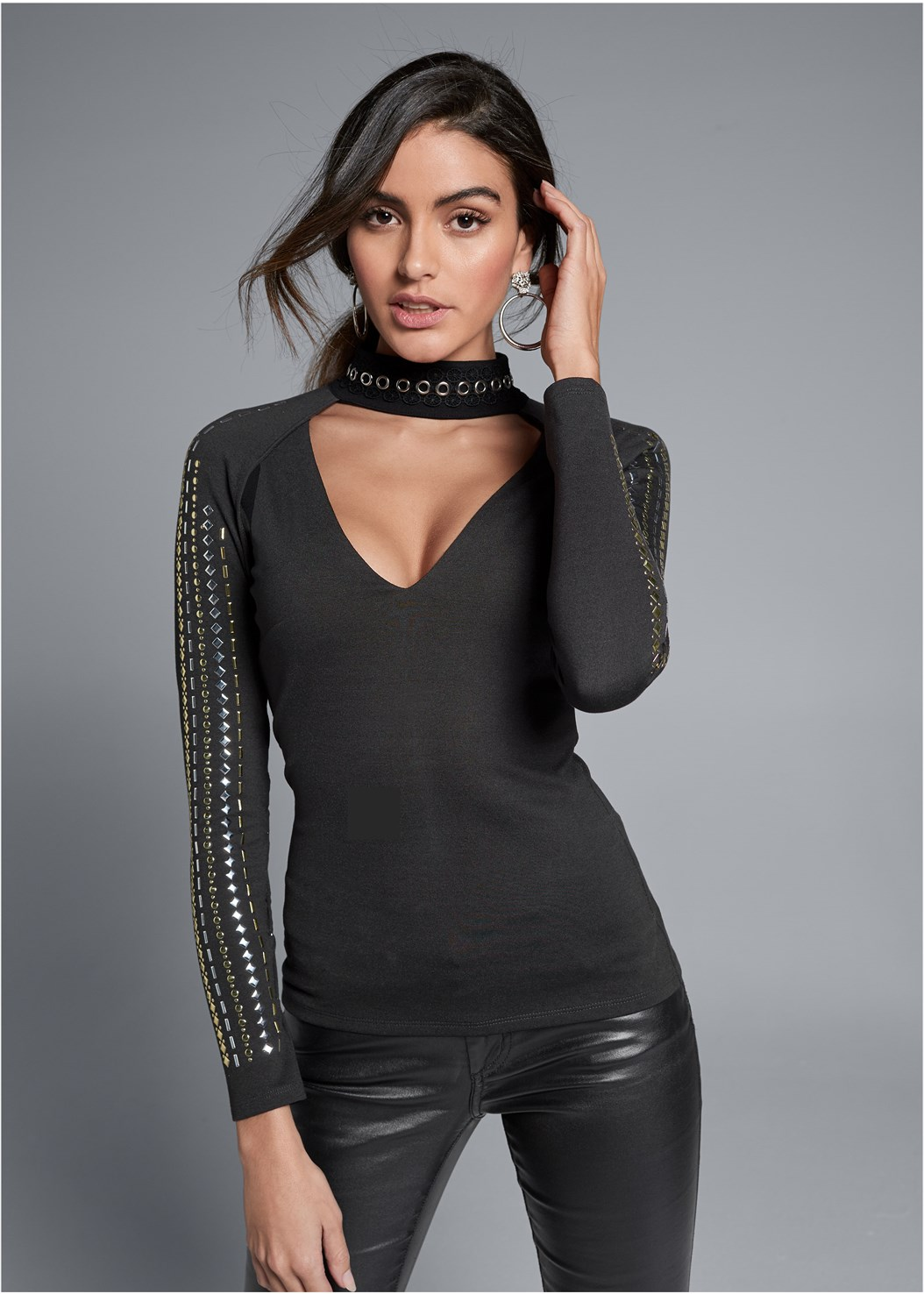 Embellished Mock Neck Top,Faux Leather Pants,Kissable Convertible Bra,Slouchy Mid-Calf Boot,Buckle Detail Booties,Tiger Detail Earrings