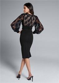 Back View Lace Detail Twofer Dress