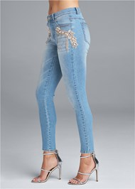 Waist down side view Crystal Embellished Skinny Jeans