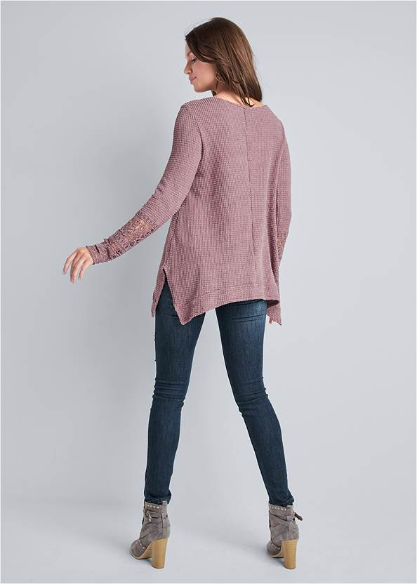 Back View Casual Waffle Knit Top