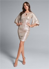 Alternate View Metallic Ruched Dress