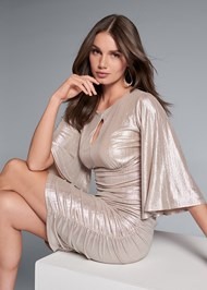 Front View Metallic Ruched Dress
