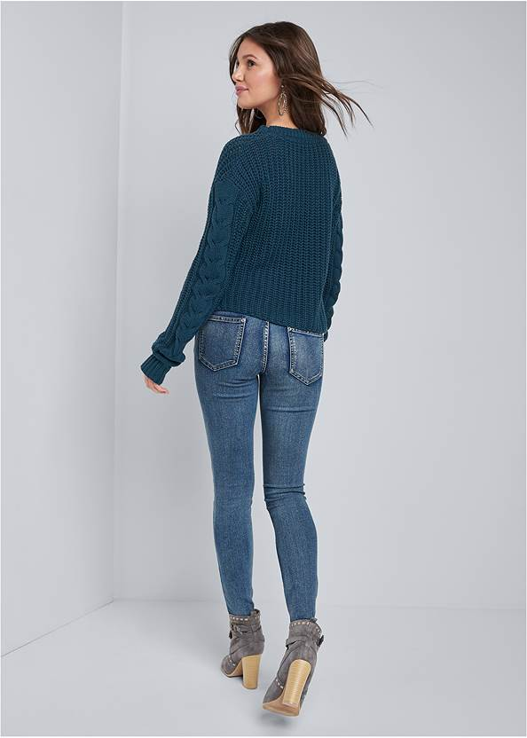 Full back view Cable Knit Asymmetrical Sweater