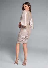 Back View Metallic Ruched Dress