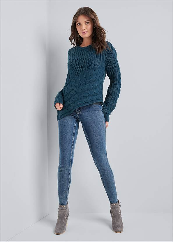 Full front view Cable Knit Asymmetrical Sweater