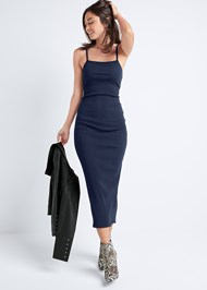Full Front View Ribbed Midi Dress