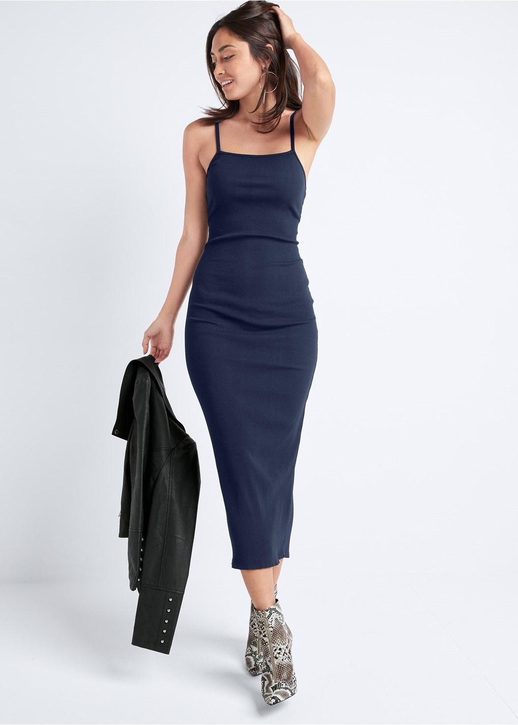Ribbed Midi Dress,Jean Jacket,Ankle Strap Heels,Hoop Detail Earrings