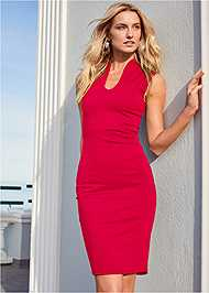 Cropped Front View Mock V Midi Dress
