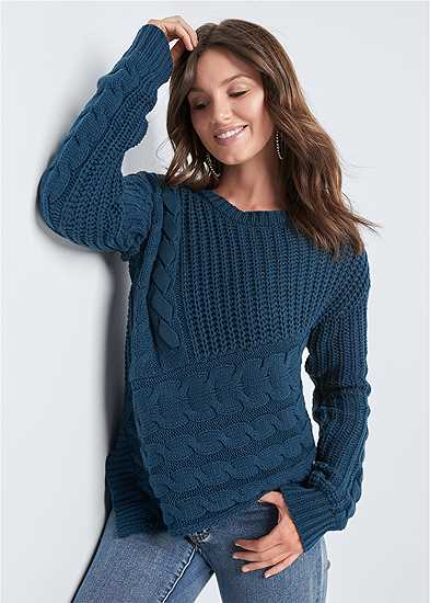 Cable Knit Asymmetrical Sweater