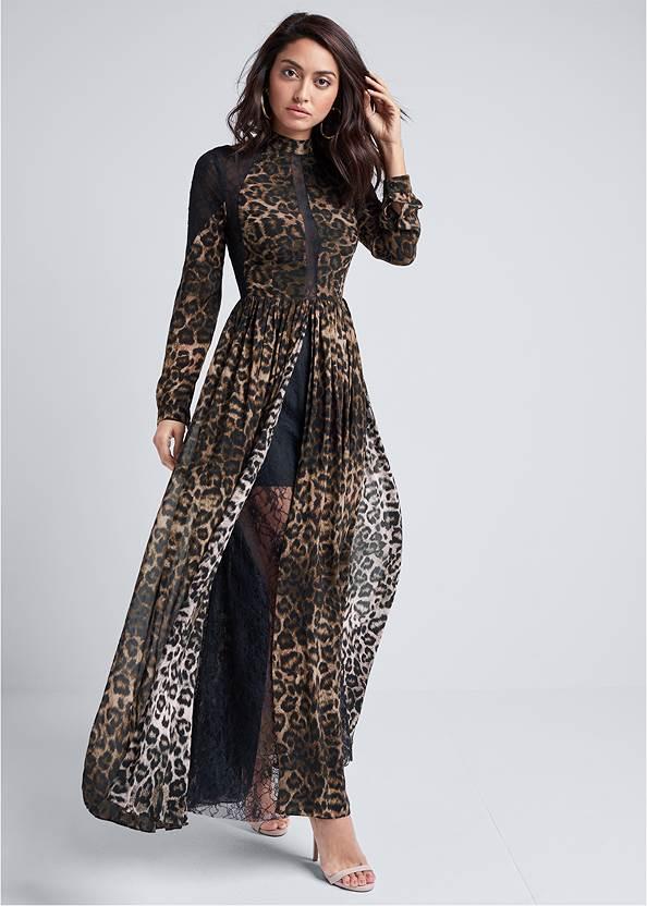 Animal Print Lace Dress,Ankle Strap Heels