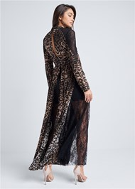 Full back view Animal Print Lace Dress