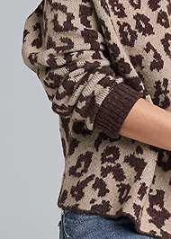Detail front view Leopard Print Cold Shoulder Sweater