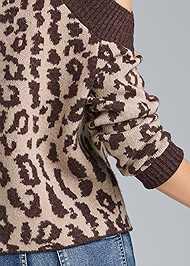 Alternate View Leopard Print Cold Shoulder Sweater