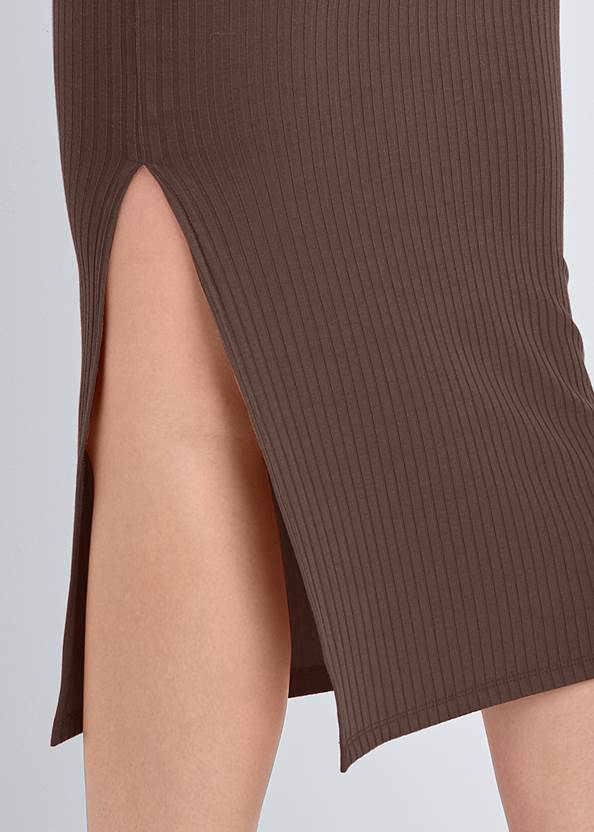 Detail back view Tie Front Ribbed Dress
