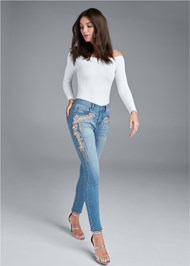 Front View Crystal Embellished Skinny Jeans