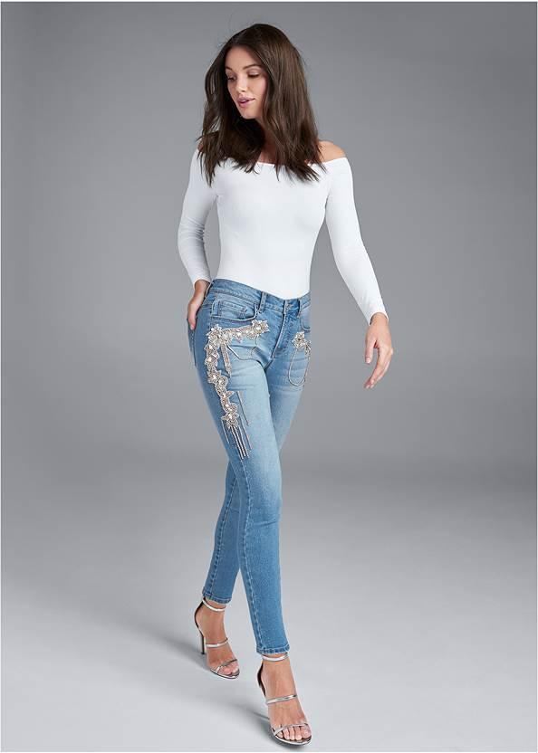 Crystal Embellished Skinny Jeans,Off The Shoulder Top,Ribbed Mesh Seamless Top,Ankle Strap Heels,Tiger Rhinestone Belt