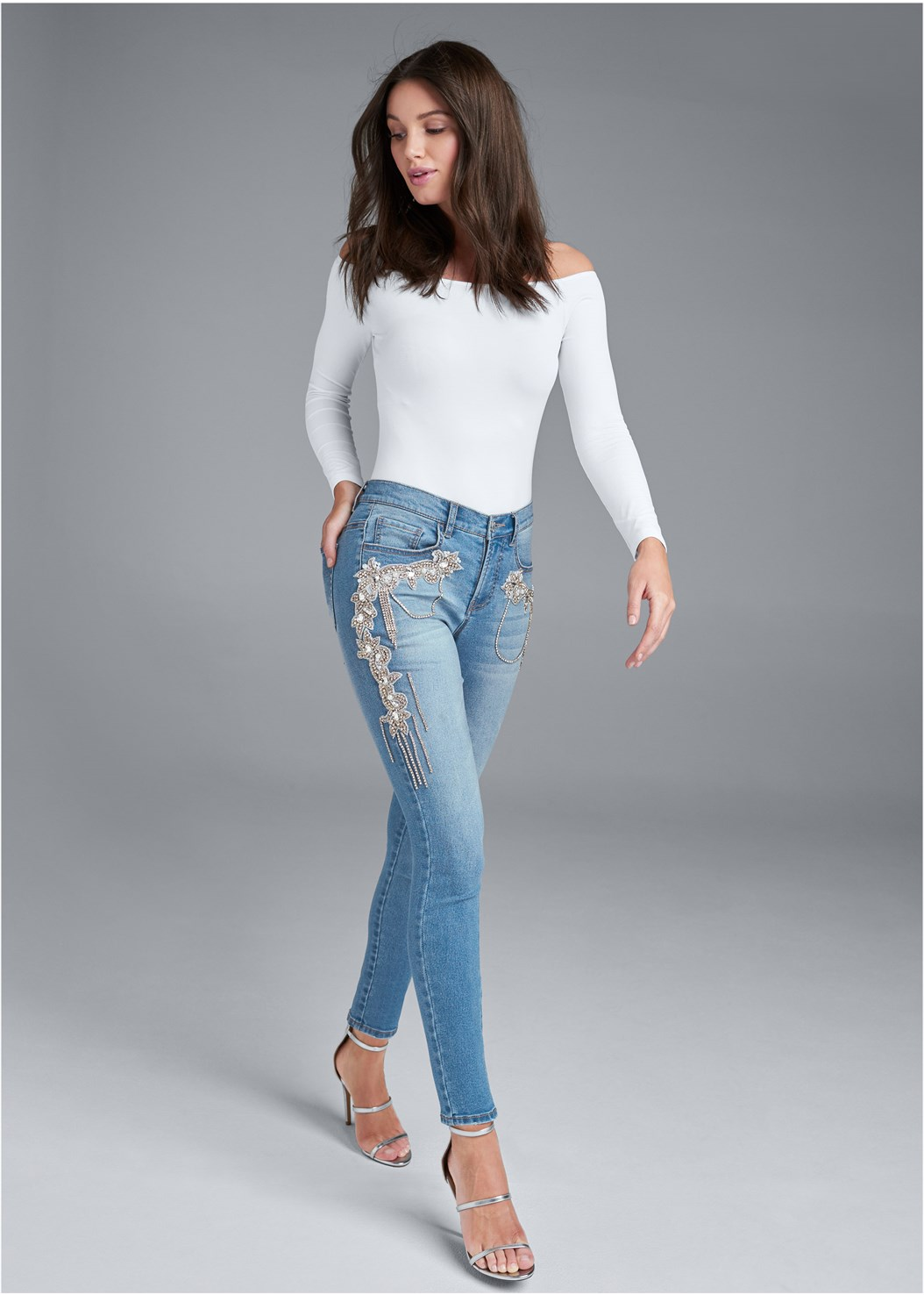 Crystal Embellished Skinny Jeans,Off The Shoulder Top,Full Figure Strapless Bra,High Heel Strappy Sandals
