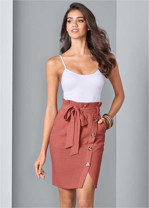 Knee Length Linen Skirt,Basic Cami Two Pack,Multi Strap Block Heel Mule,Oversized Tassel Earrings,Shell Detail Long Necklace,Metal Ring Crossbody Bag