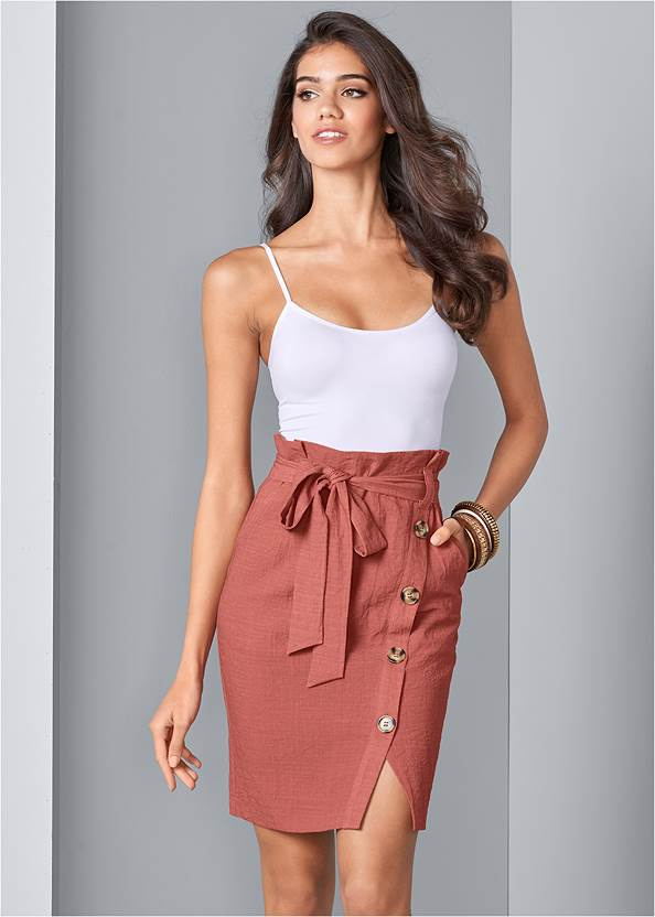 Knee Length Linen Skirt,Basic Cami Two Pack,Oversized Tassel Earrings