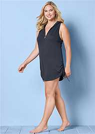 Front View Zip Front Hooded Cover-Up