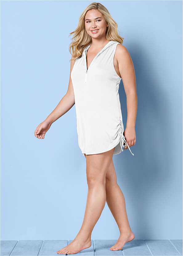 Zip Front Hooded Cover-Up
