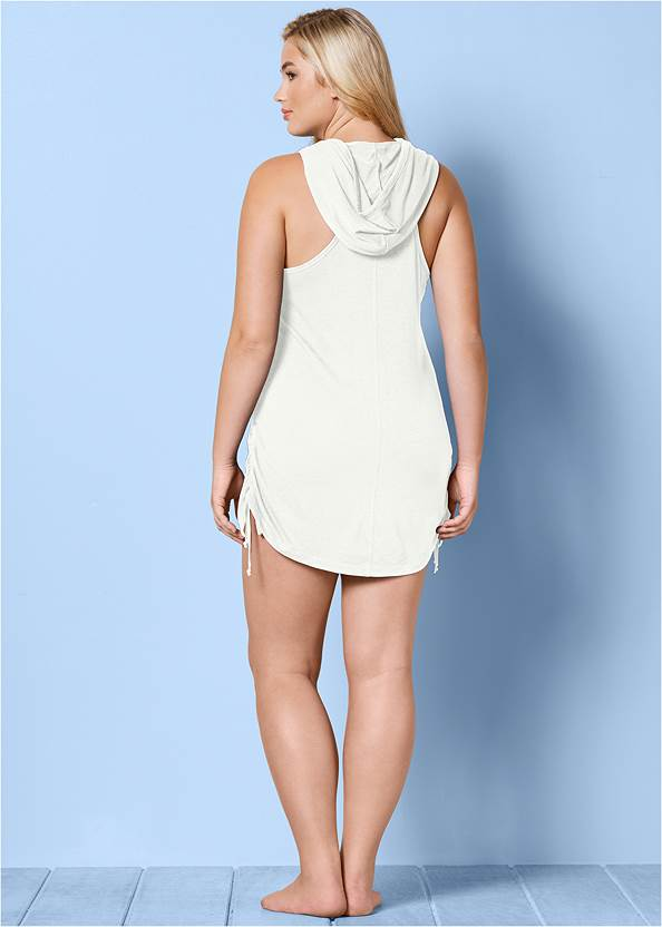 Back View Zip Front Hooded Cover-Up