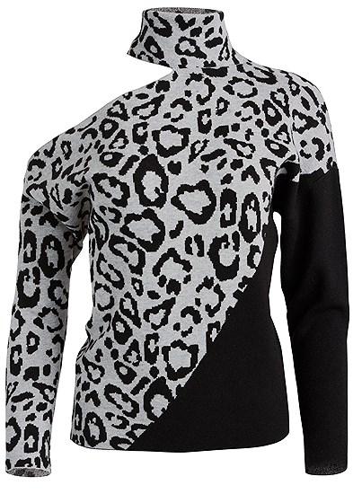 Plus Size Leopard Print One Shoulder Sweater