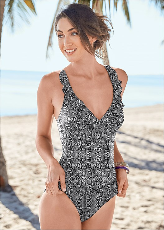 RUFFLE TRIMMED ONE-PIECE