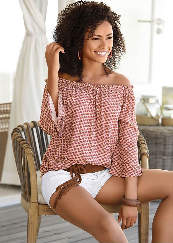 Off The Shoulder Top,Frayed Cut Off Jean Shorts,Ripped Jean Shorts,Multi Color Stone Sandals