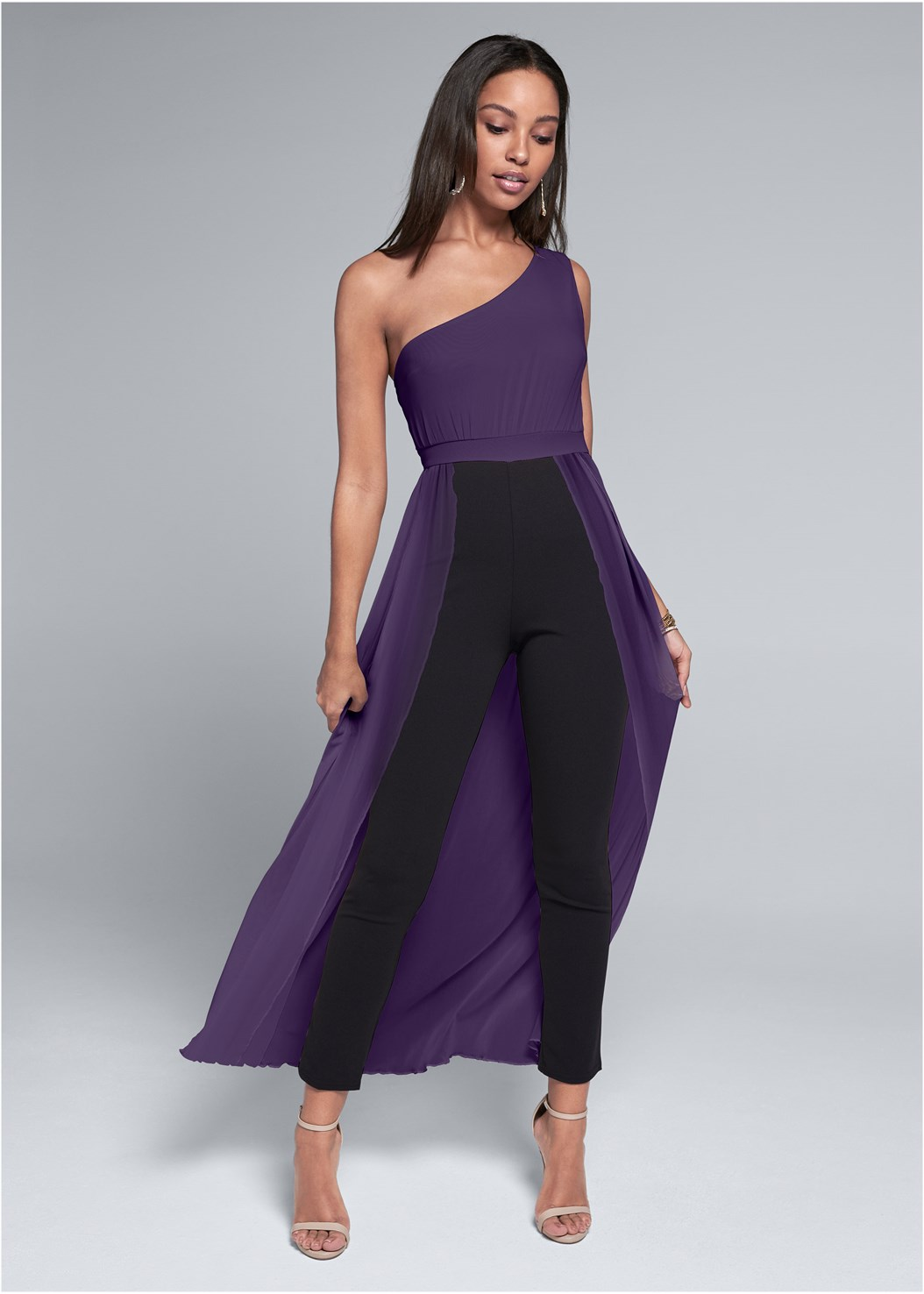 One Shoulder Jumpsuit,Kissable Convertible Bra,Ankle Strap Heels