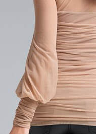Detail back view Ruched Mesh Top