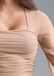 Detail front view Ruched Mesh Top