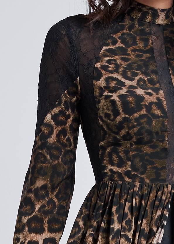 Detail front view Animal Print Lace Dress