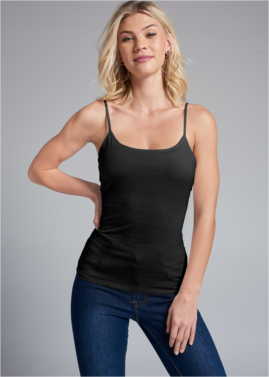 Basic Cami Two Pack,Mid Rise Color Skinny Jeans,Everyday You Strapless Bra,High Heel Strappy Sandals,Hoop Detail Earrings