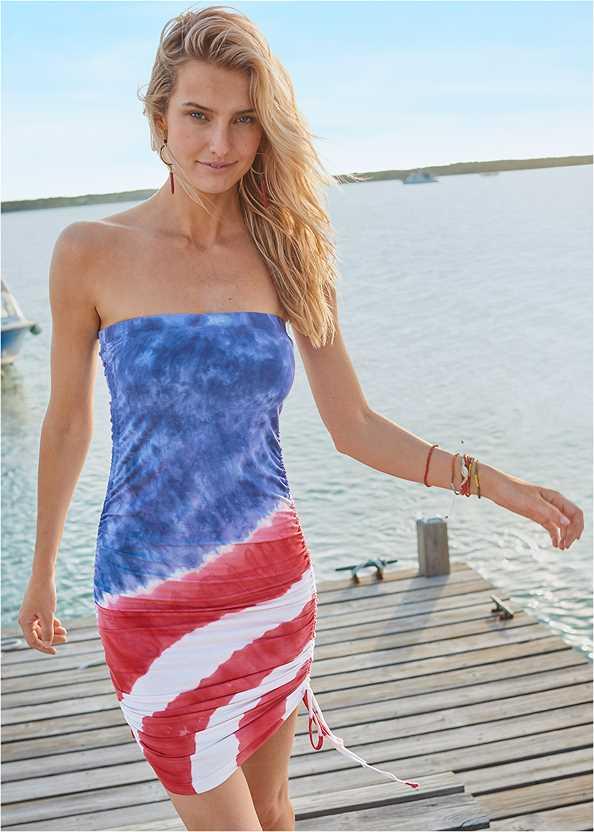Tube Cover-Up Dress,Triangle String Bikini Top,String Side Bikini Bottom,Embellished Slides