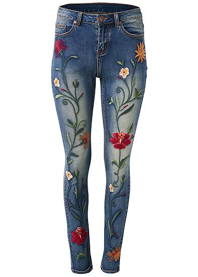 Plus Size Floral Embroidered Skinny Jeans