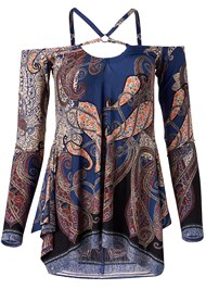 Ghost with background  view Paisley Cold Shoulder Top